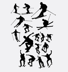 Skiing and skateboarder sport silhouette vector