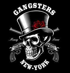 skull with hat and guns vector image