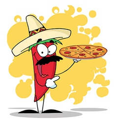 Sombrero Chile Pepper Holds Up Hot Pizza vector