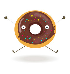 Sweet chocolate donut with funny face long arms vector