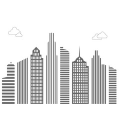tall houses of lines and stripes with clouds vector image