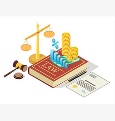 Taxes law concept flat isometric vector