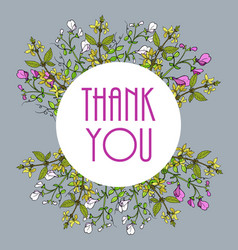 thank you cards with sweet pea and forsythia vector image