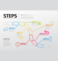 Thin line steps progress timeline template vector