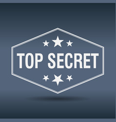 top secret hexagonal white vintage retro style vector image