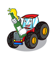 With beer tractor mascot cartoon style vector