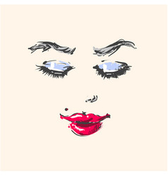 young beautiful woman fashion portrait face vector image