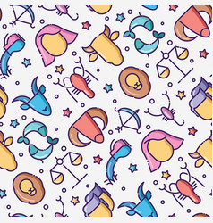 zodiac signs seamless pattern with thin line icons vector image