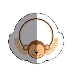 color sticker circle with monkey head and olive vector image vector image
