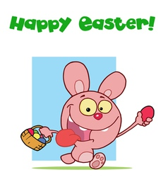 Easter Greeting Above A Pink Rabbit vector image vector image