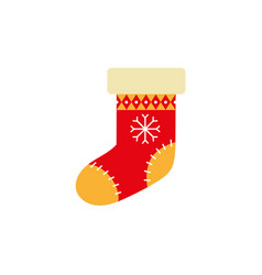 flat style knitted christmas stocking xmas icon vector image vector image