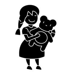 girl with teddy bear icon vector image vector image