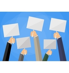 hands holding white empty sign boards vector image vector image