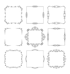 Vintage calligraphic square frame set vector image vector image