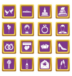 wedding icons set purple vector image