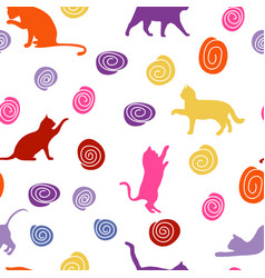 cats and balls seamless baby background with vector image
