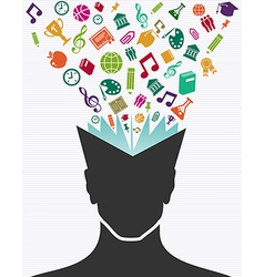Education colorful icons human head book vector image vector image