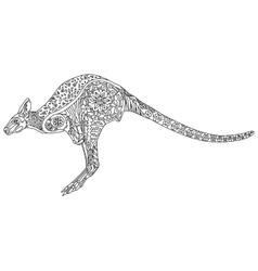 Kangaroo coloring for adults vector image vector image