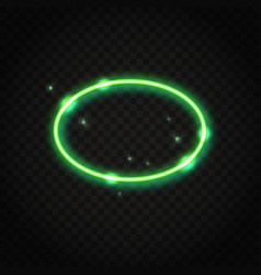 Neon green oval frame with space for text vector