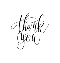 thank you hand lettering inscription positive vector image