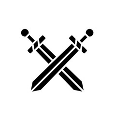 two swords icon black sign vector image