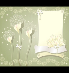 Elegant floral background with frame flowers bows vector image