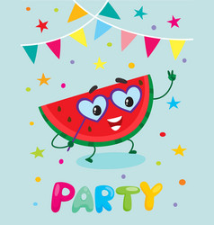 Party flayer template cute watermelon character vector