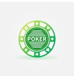 Poker chip green icon vector image vector image