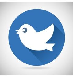 Round Blue Social Media Web or Internet Icon Bird vector image vector image