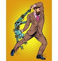 Cyclops businessman against a robot vector image