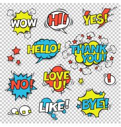 hi yes thank you hello wow love u no like bye vector image vector image