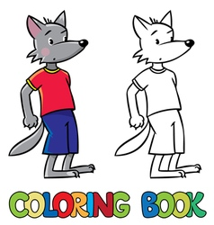 Little funny wolf coloring book vector