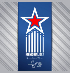 memorial day concept design remember and honor vector image vector image