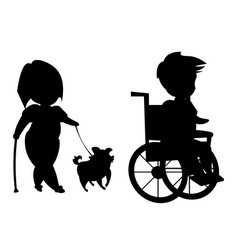 silhouette of disabled people vector image