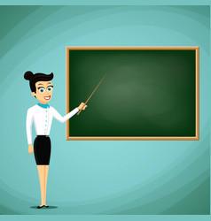 Woman teacher show pointer on blackboard back to vector