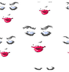 woman with red lipstick looking down and smiling vector image vector image