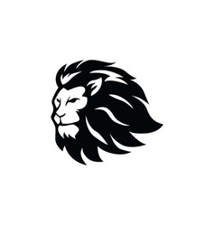 angry lion head black and white logo vector image