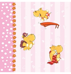 background with hippos vector image
