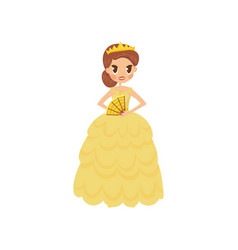 beautiful little princess in a golden dress and vector image