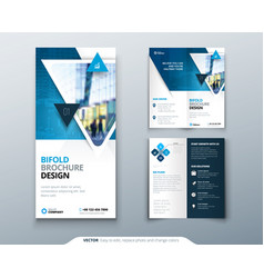 bifold brochure design blue template for bi fold vector image