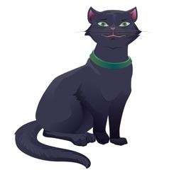 Black cat with green eyes sitting vector