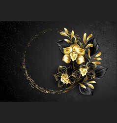 black jewelry orchid with gold paint vector image