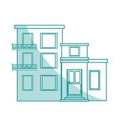 Blue shading silhouette cartoon facade comfortable vector
