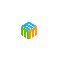 Box letter m logo icon design vector