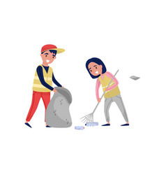 Boy and girl gathering garbage and plastic waste vector