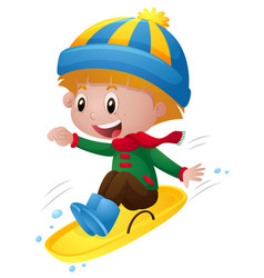 Boy in winter clothes playing on sledge vector