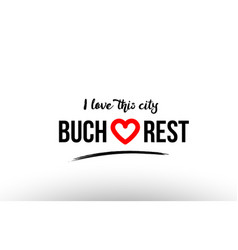 Bucharest city name love heart visit tourism logo vector