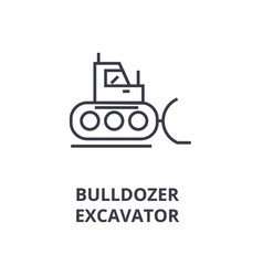 bulldozer excavator line icon outline sign vector image