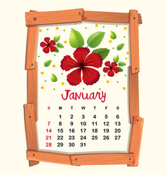Calendar template with red hibiscus for january vector
