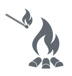 Camp fire icon vector